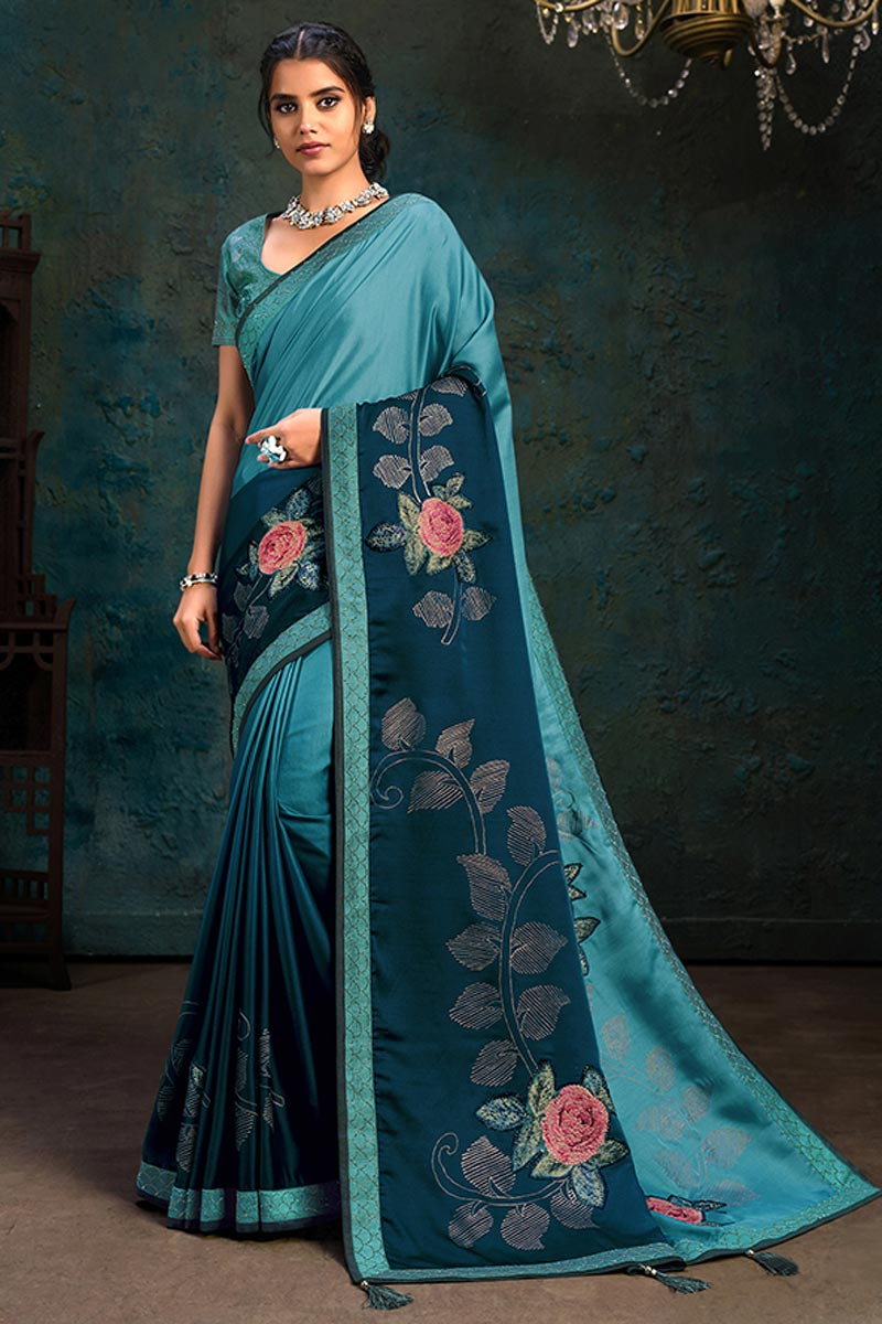 Function Wear Cyan Color Saree In Georgette Silk Fabric