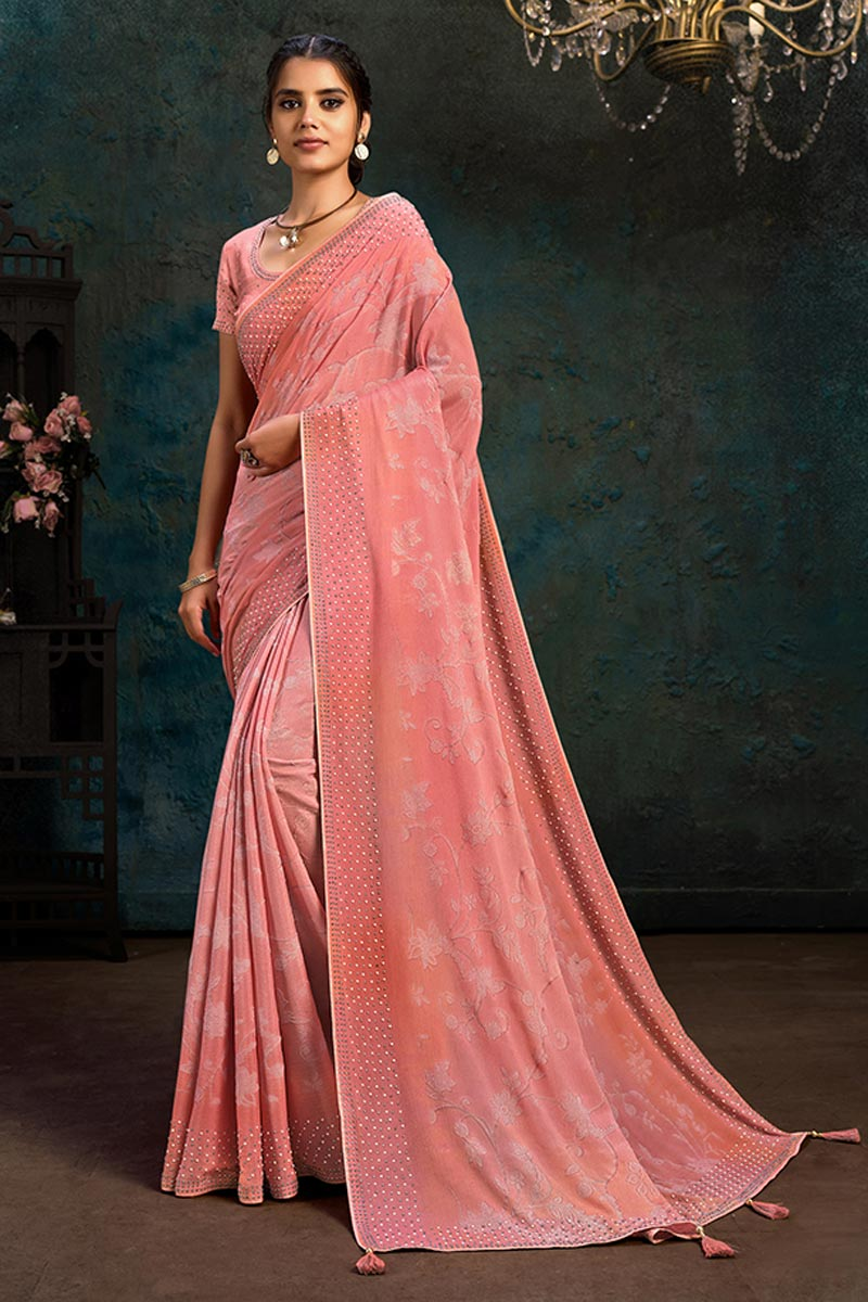 Designer Pink Color Chiffon Fabric Party Wear Saree