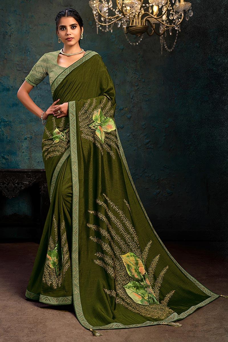 Georgette Silk Fabric Olive Color Designer Saree