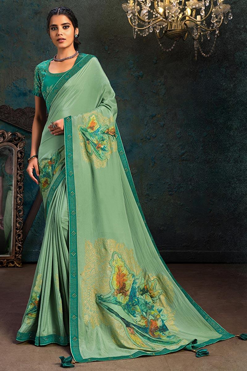 Sea Green Color Georgette Silk Fabric Occasion Wear Saree