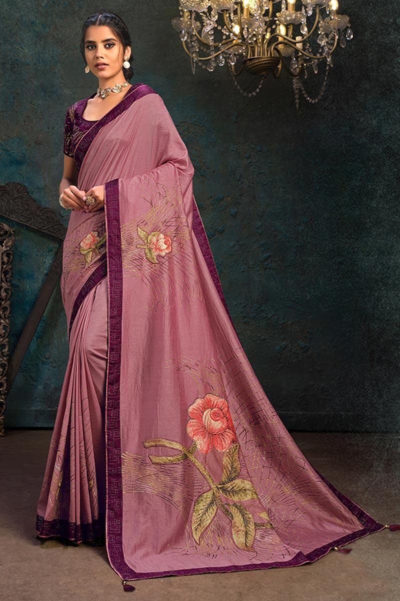 Fancy Pink Color Art Silk Fabric Sangeet Wear Saree