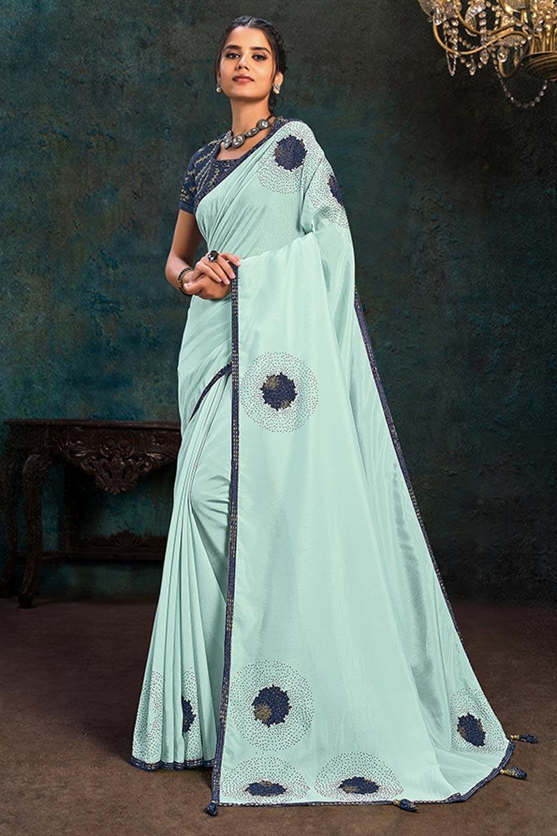 Designer Georgette Silk Fabric Light Cyan Color Party Wear Saree