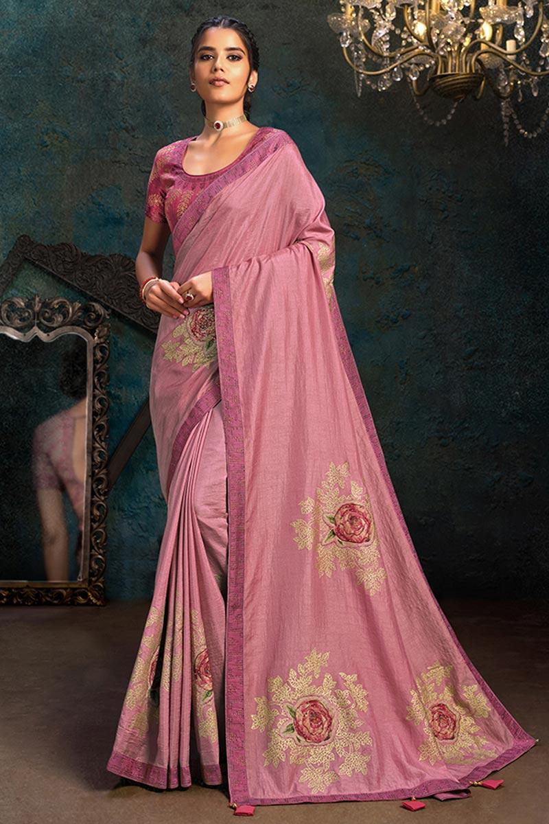 Fancy Art Silk Fabric Pink Color Saree