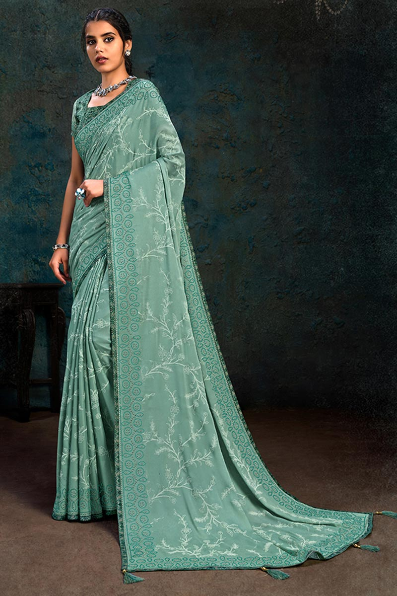 Sea Green Color Georgette Silk Fabric Party Wear Saree