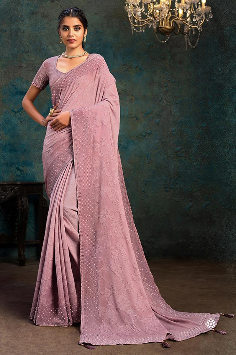 Designer Lavender Color Occasion Wear Saree In Chiffon Fabric