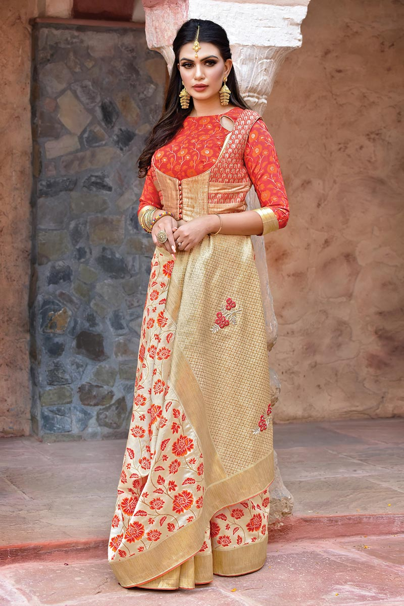 Function Wear Designer Embroidered Art Silk Fabric Saree In Beige
