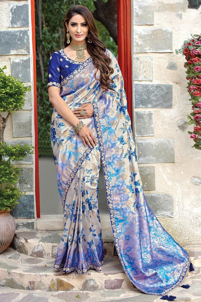 Art Silk Fabric Function Wear Designer Blue Embroidered Saree