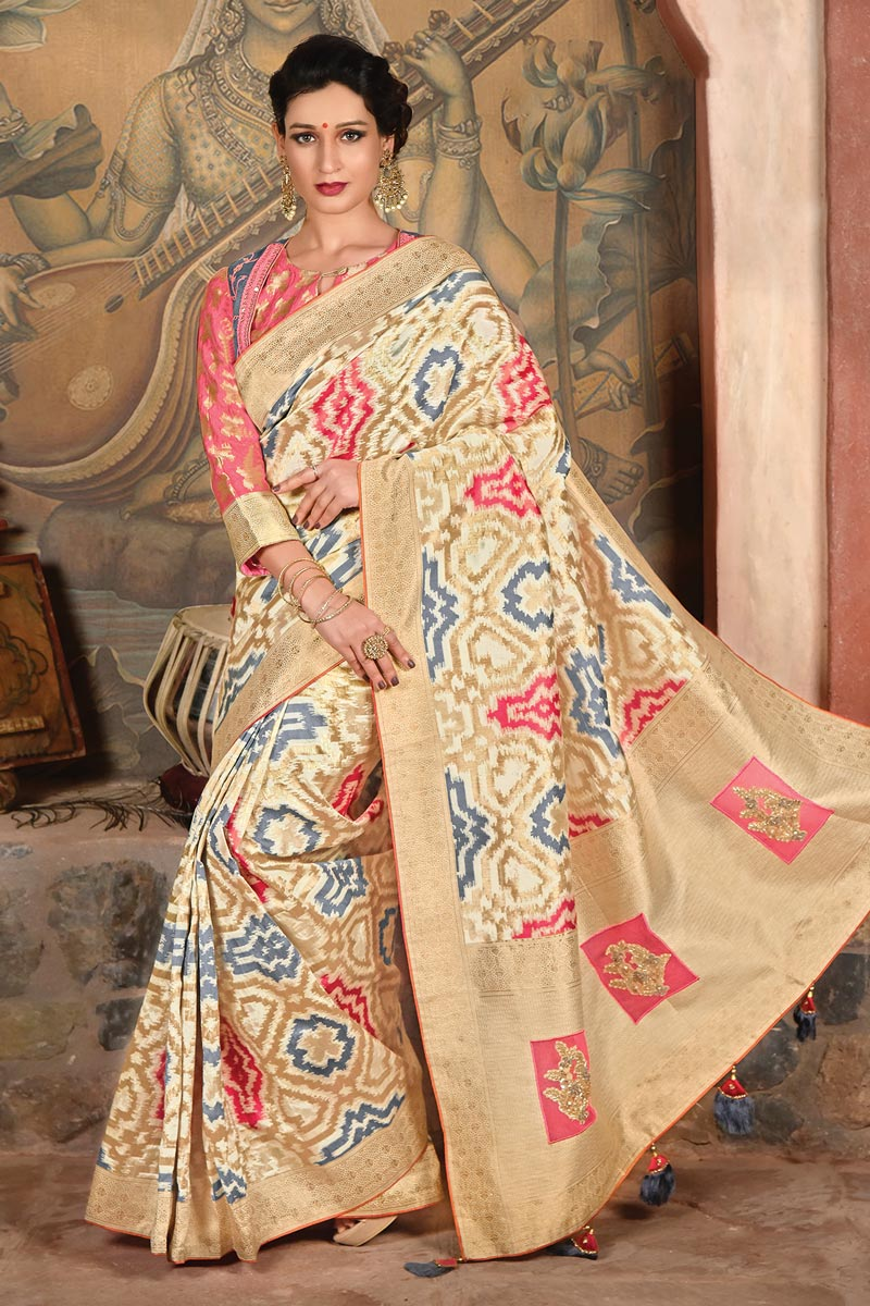 Beige Function Wear Designer Embroidered Saree In Art Silk Fabric
