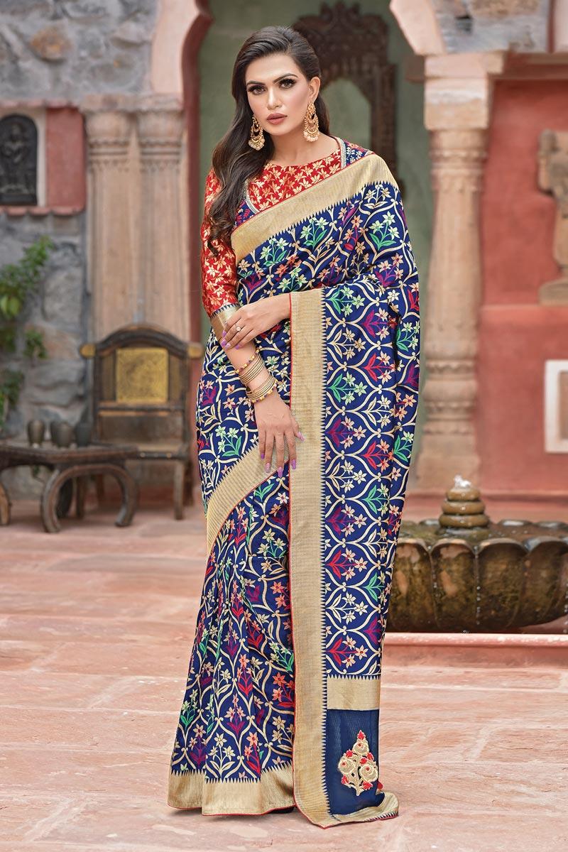 Art Silk Fabric Function Wear Navy Blue Designer Embroidered Saree