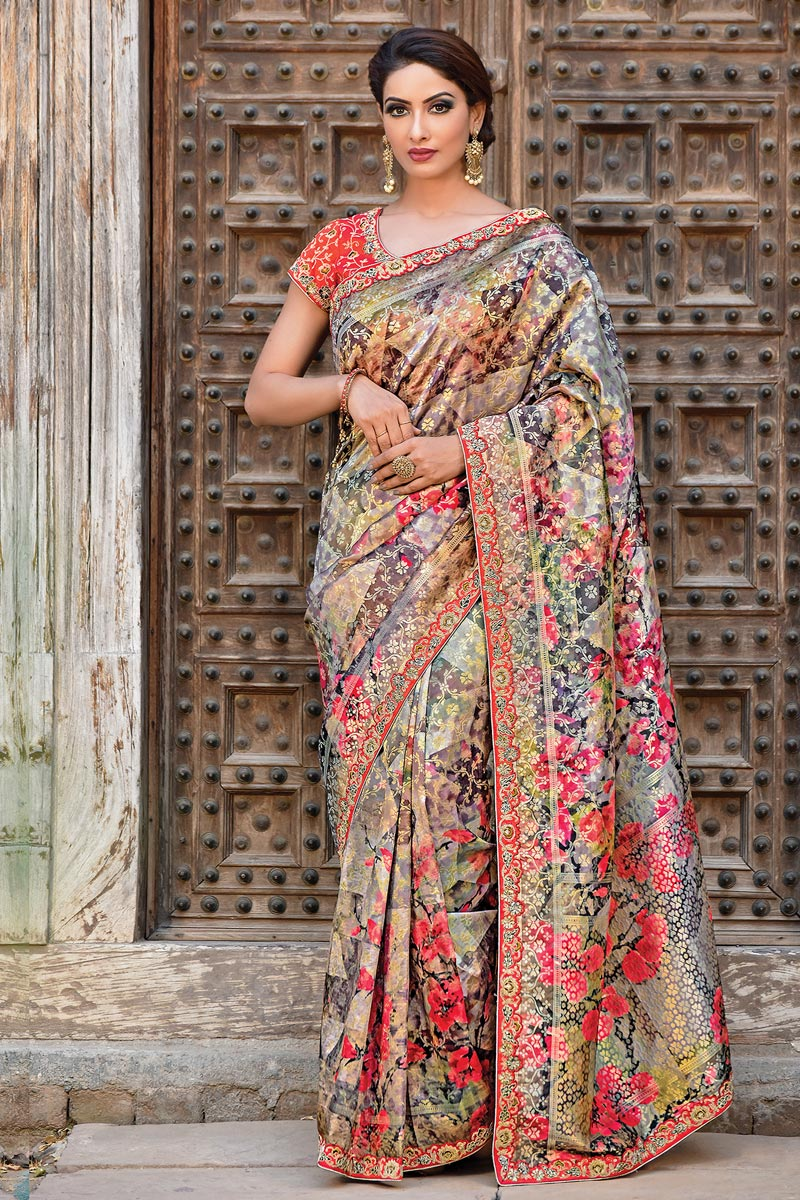 Black Function Wear Designer Art Silk Fabric Embroidered Saree