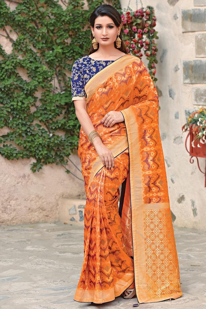 Orange Art Silk Fabric Traditional Wear Designer Embroidered Saree