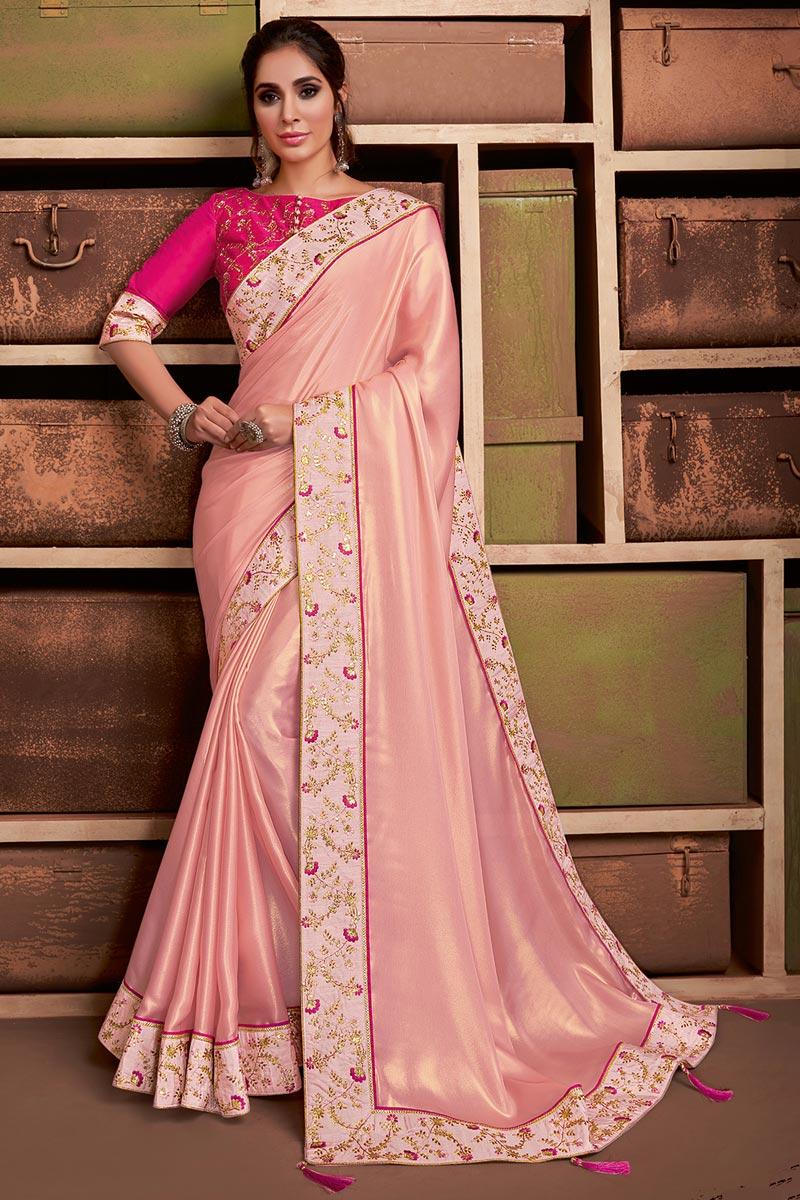 Sangeet Wear Georgette Silk Fabric Chic Border Work Saree In Pink Color