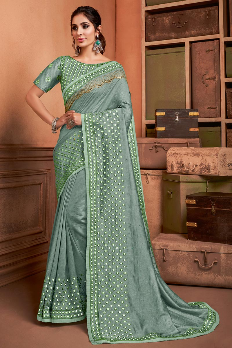 Art Silk Fabric Sangeet Wear Chic Border Work Saree In Sea Green Color