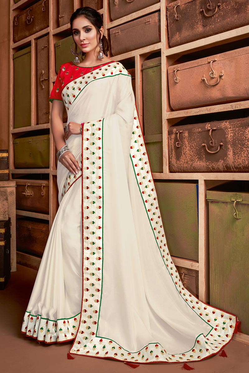 Sangeet Wear Off White Color Chic Border Work Saree In Georgette Silk Fabric