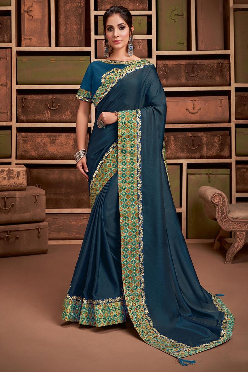 Georgette Silk Fabric Sangeet Wear Chic Border Work Saree In Teal Color