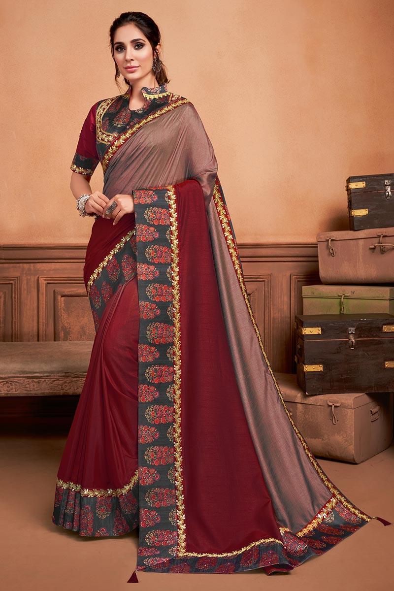 Maroon Color Sangeet Wear Chic Art Silk Fabric Border Work Saree