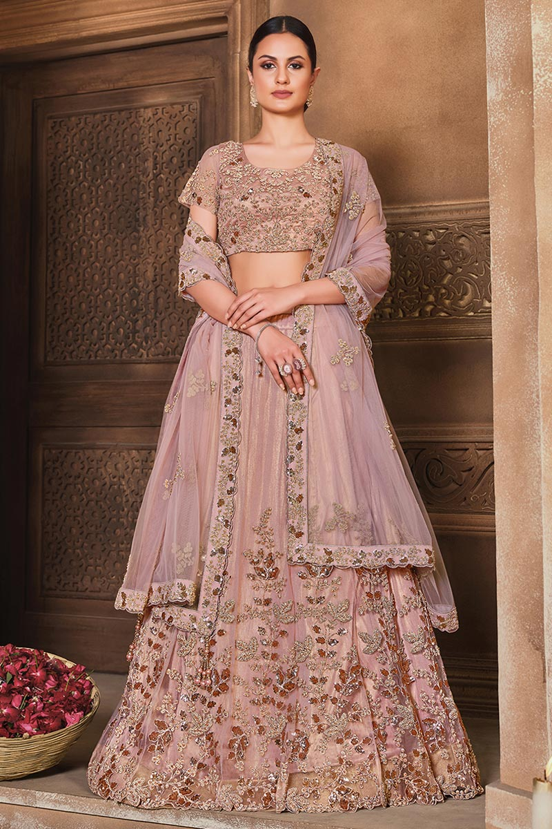 Pink Color Net Fabric Embroidered Function Wear Fancy Lehenga Choli