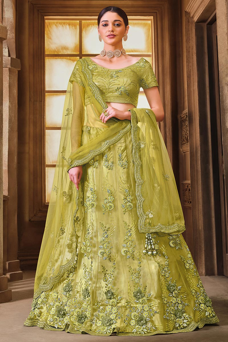 Net Fabric Embroidered Festive Wear Trendy Lehenga Choli In Green Color