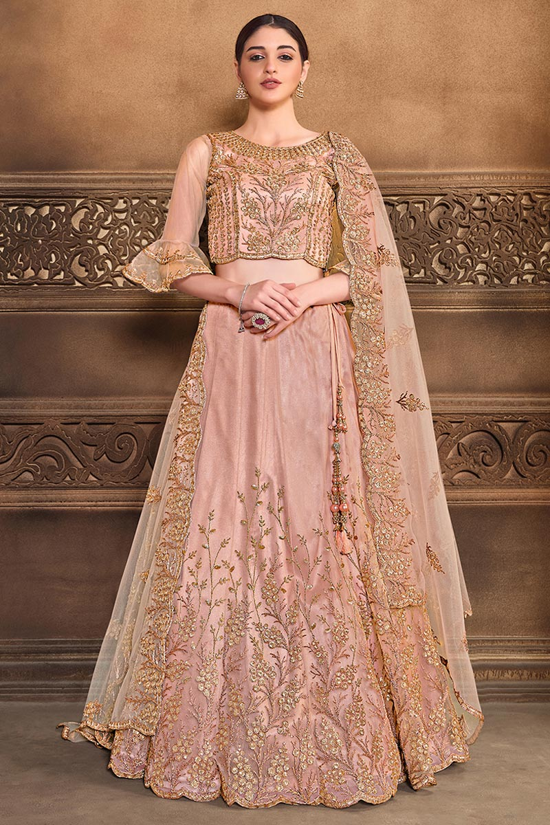 Embroidered Sangeet Wear Stylish Lehenga Choli In Peach Color Net Fabric