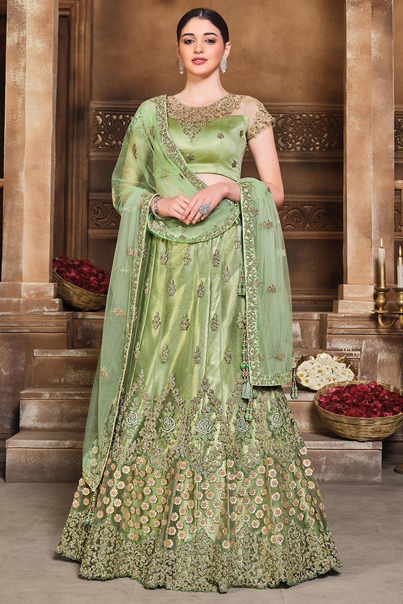 Net Fabric Embroidered Wedding Wear Designer Lehenga Choli In Sea Green Color