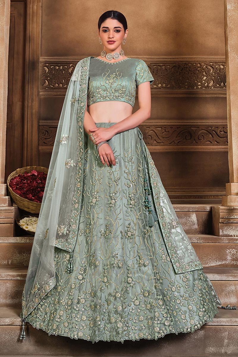 Grey Color Net Fabric Embroidered Reception Wear Fancy Lehenga Choli