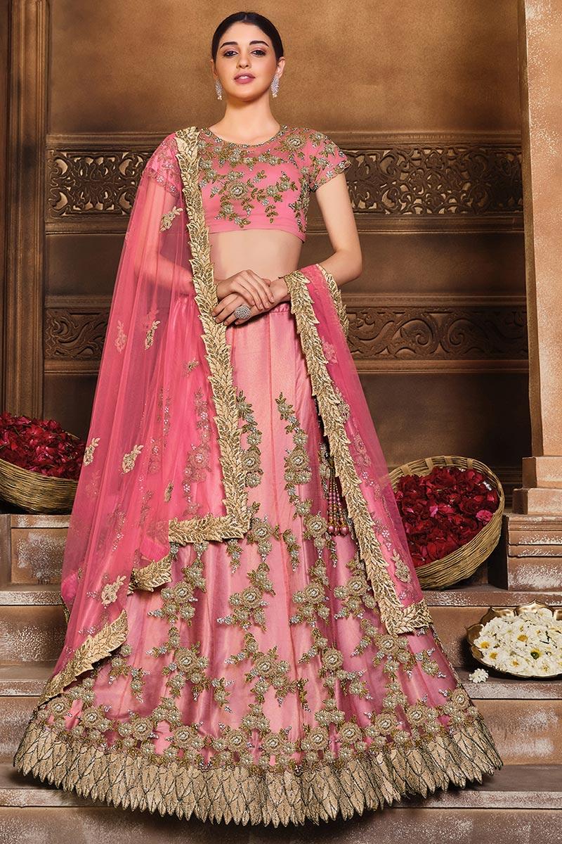 Embroidered Designer Wedding Wear Net Fabric Lehenga