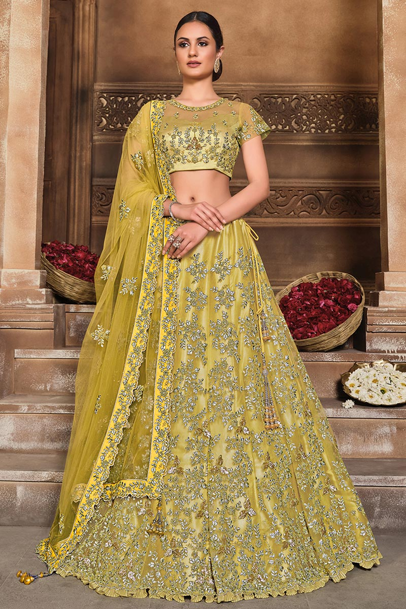 Yellow Color Embroidered Function Wear Fancy Lehenga Choli