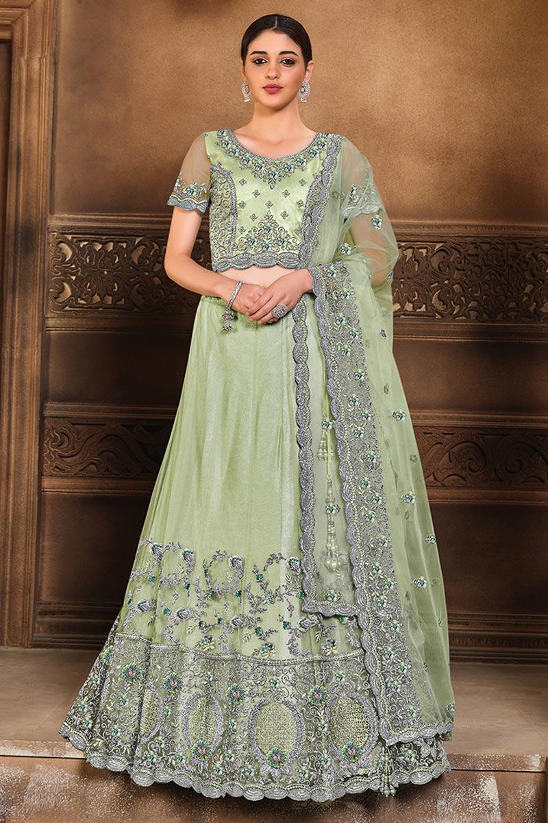 Net Fabric Festive Wear Trendy Lehenga Choli In Sea Green Color