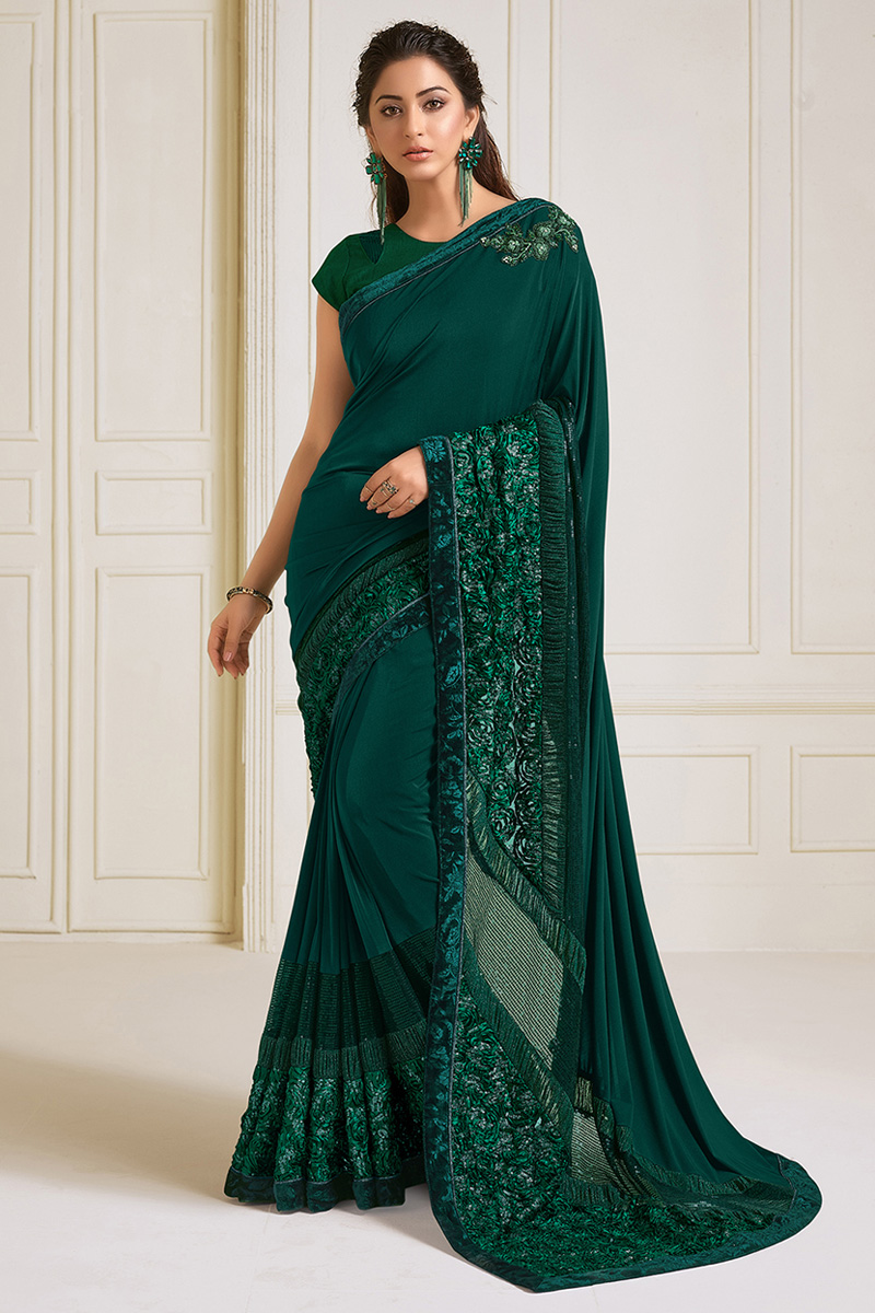 Dark Green Color Puja Wear Lycra Fabric Embroidery Work Designer Saree