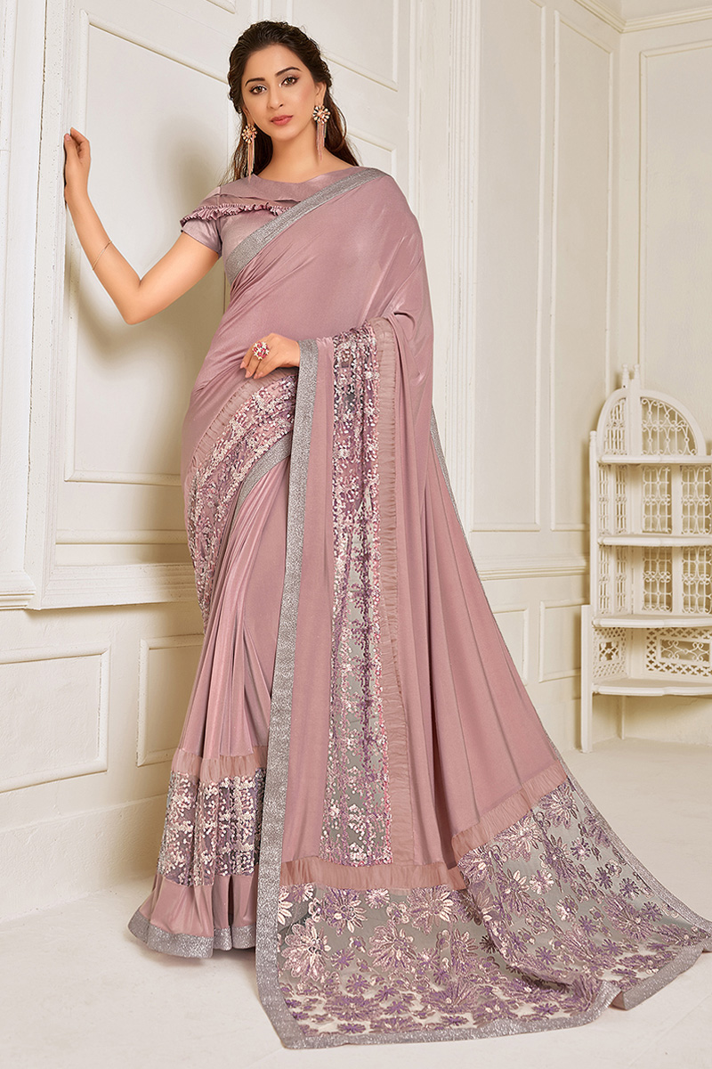 Lycra Fabric Function Wear Pink Color Embroidery Work Designer Saree