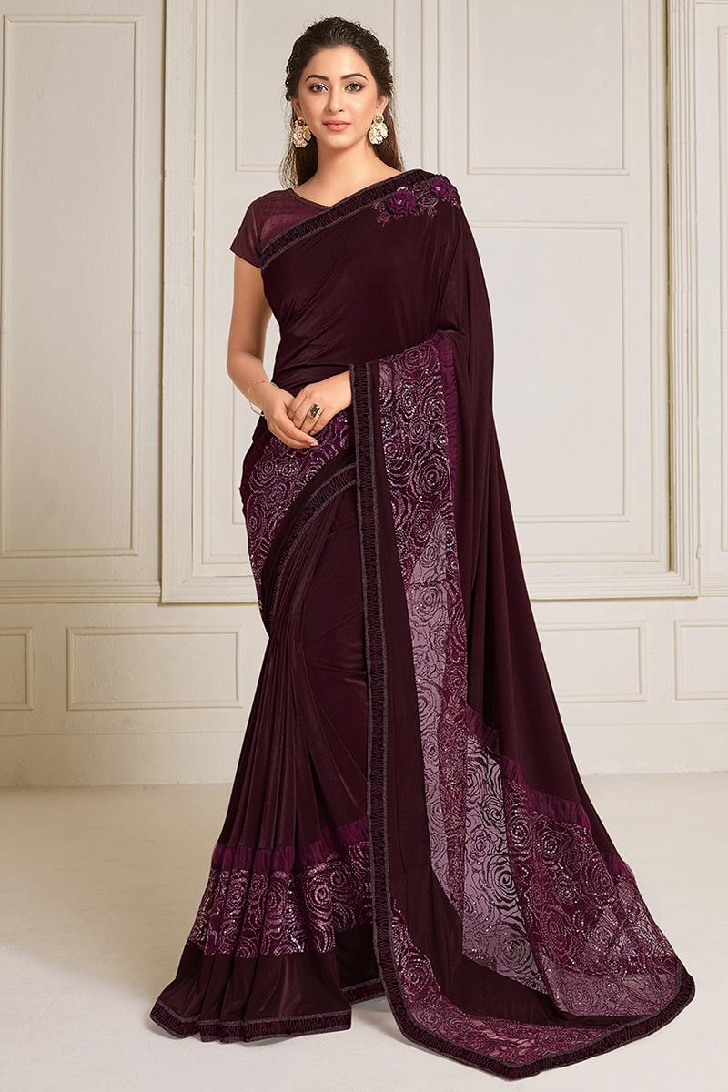 Festive Wear Lycra Fabric Embroidery Work Designer Saree In Wine Color