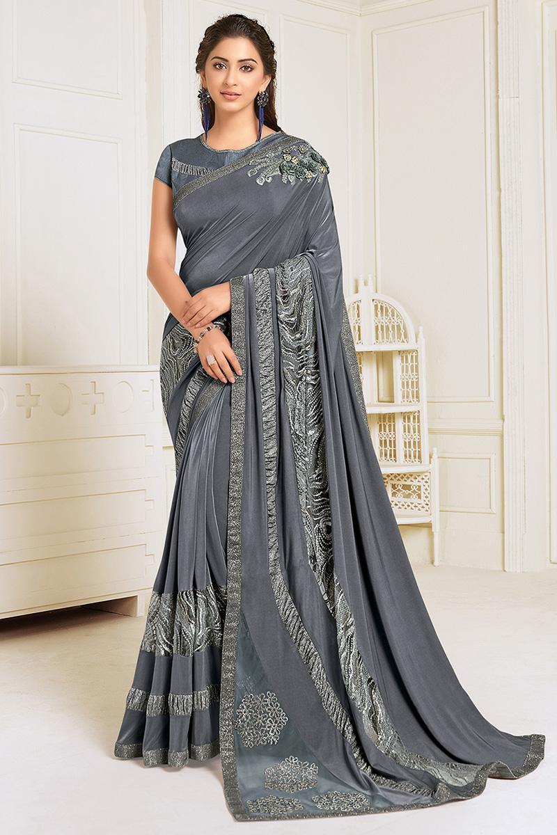 Grey Color Festive Wear Lycra Fabric Embroidery Work Designer Saree