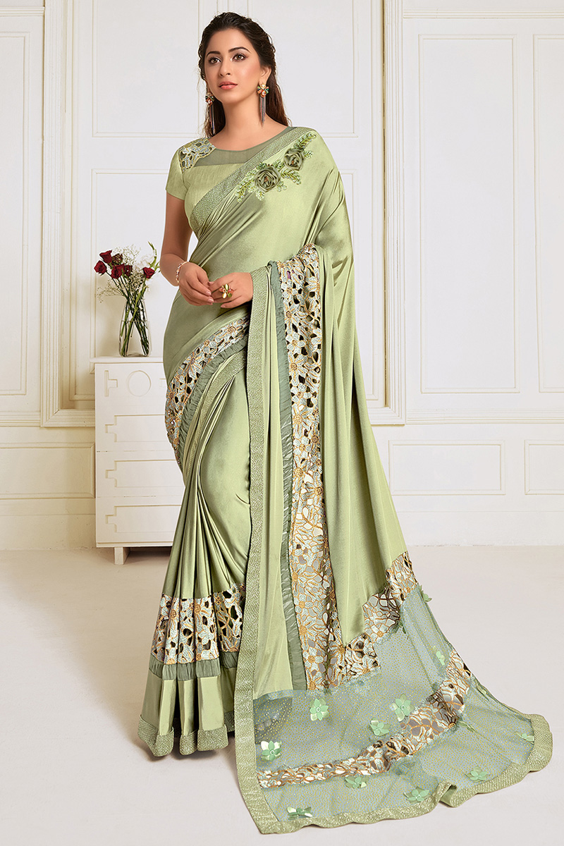 Sea Green Color Party Wear Lycra Fabric Embroidery Work Designer Saree