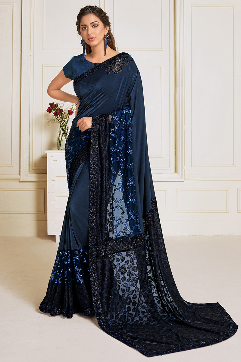 Lycra Fabric Sangeet Wear Navy Blue Color Embroidery Work Designer Saree