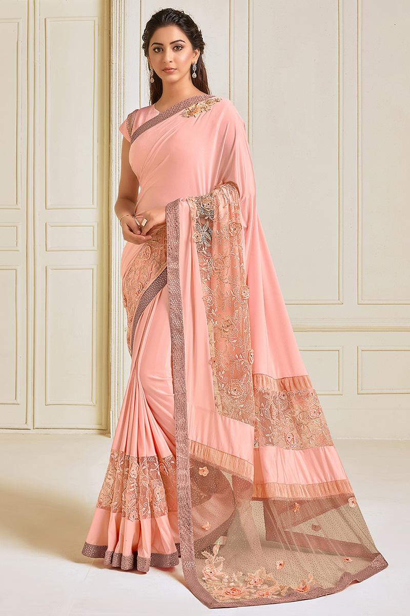 Lycra Puja Wear Peach Color Embroidery Work Designer Saree