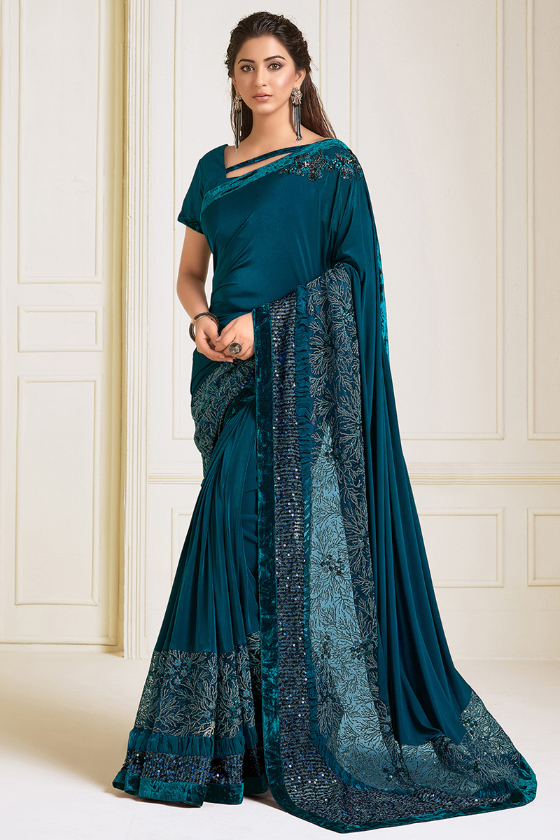 Lycra Fabric Function Wear Teal Embroidery Work Designer Saree