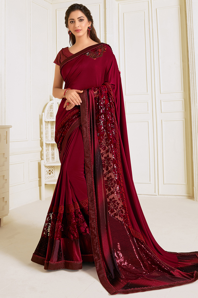 Festive Wear Lycra Fabric Embroidery Work Saree In Maroon Color