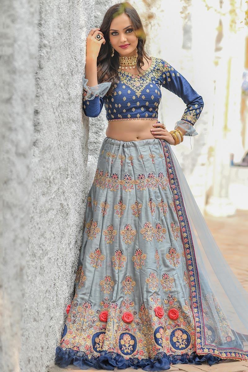 Designer Grey Color Sangeet Wear Thread Embroidered Art Silk Fabric Lehenga