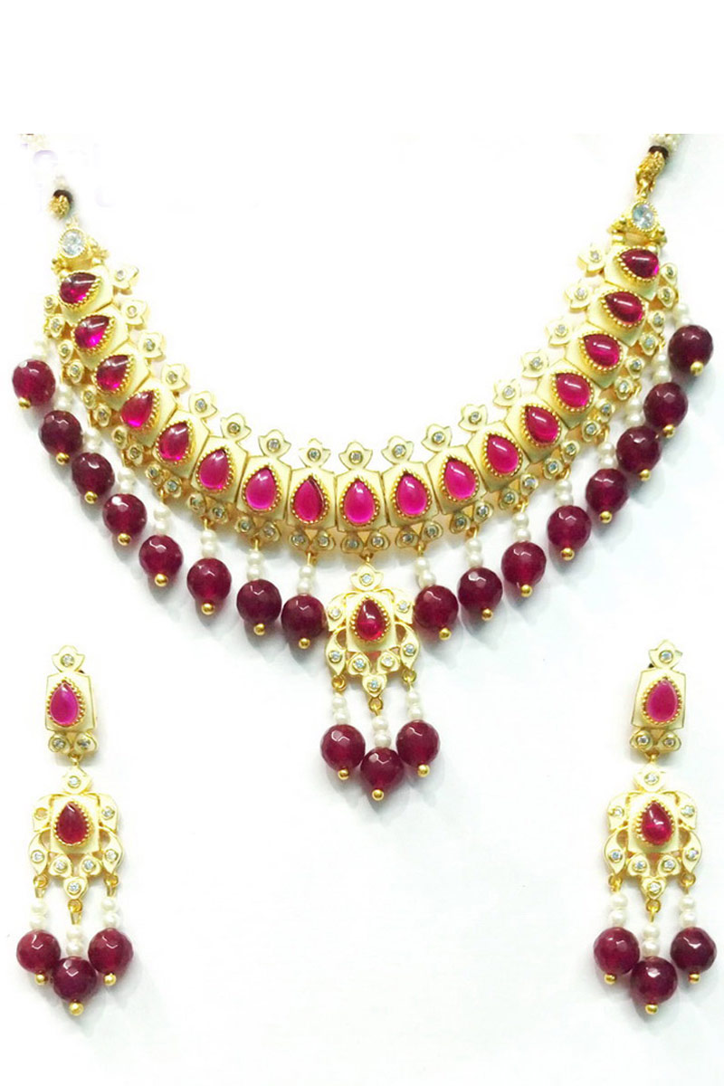 Traditional Fancy Burgundy Artificial Necklace Set