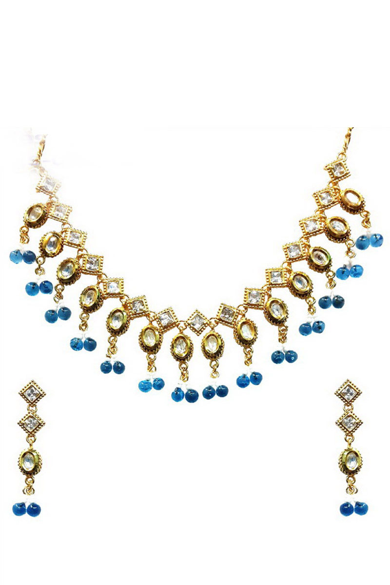 Fancy Imitation Traditional Golden And Blue Necklace Set