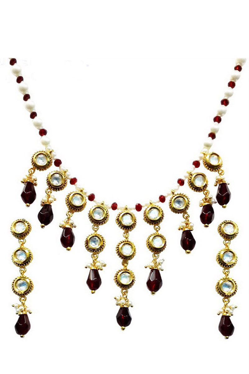 Artificial Traditional Fancy Maroon Necklace Set