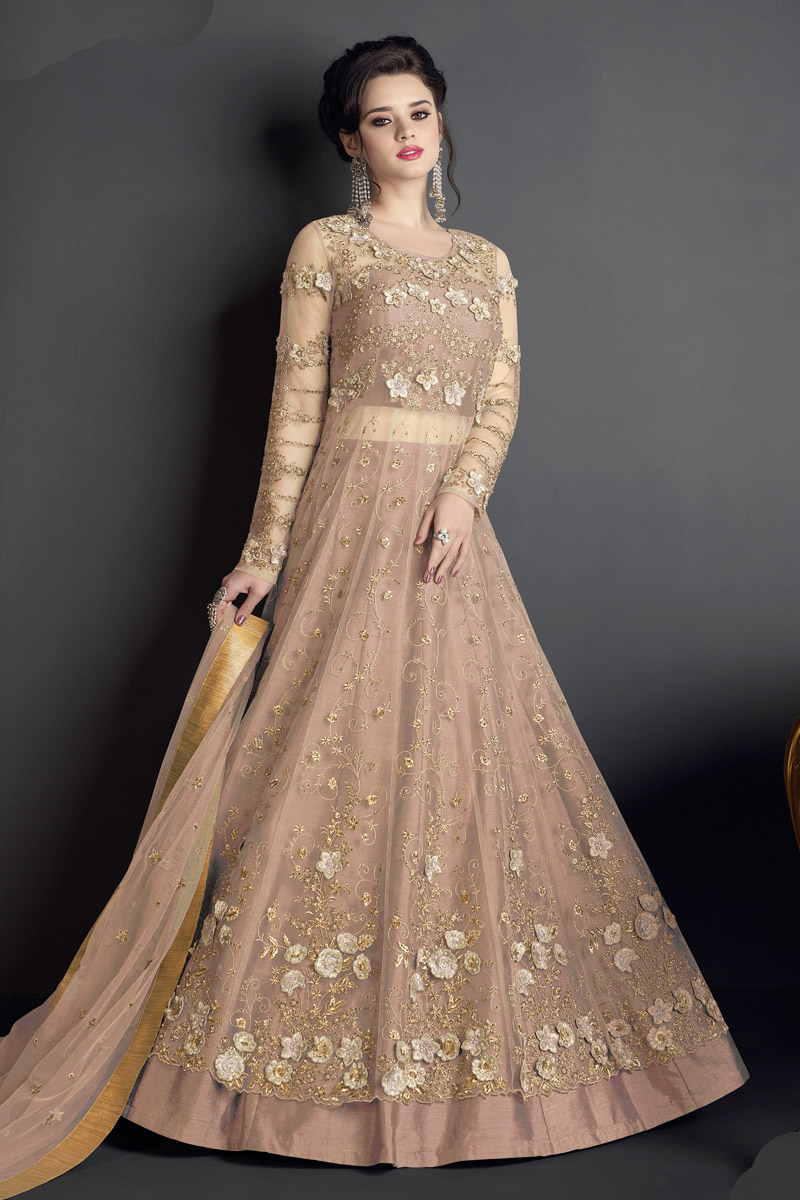 Eid Special Heavy Embroidered Floor Length Net Fabric Anarkali Suit