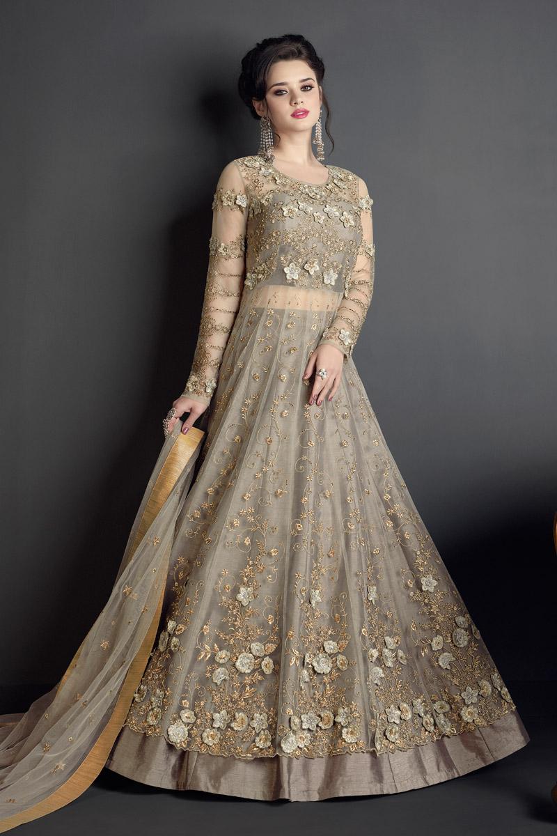 Eid Special Dark Beige Designer Embroidered Anarkali Salwar Kameez In Net Fabric