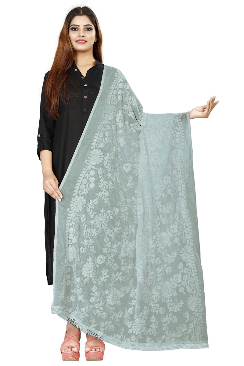 Traditional Wear Fancy Fabric Thread Embroidered Grey Dupatta