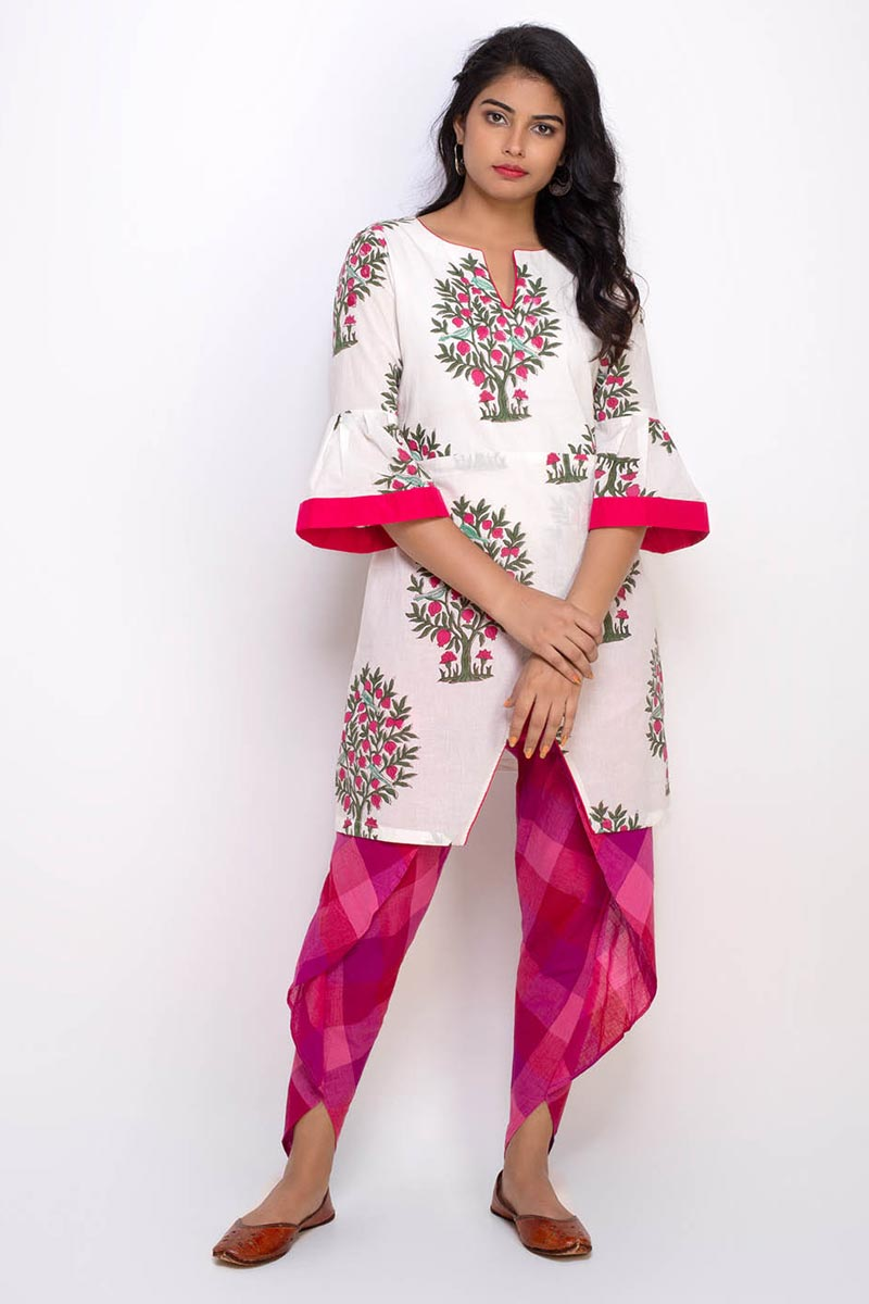Exclusive Off White Color Printed Top With Tulip Pant