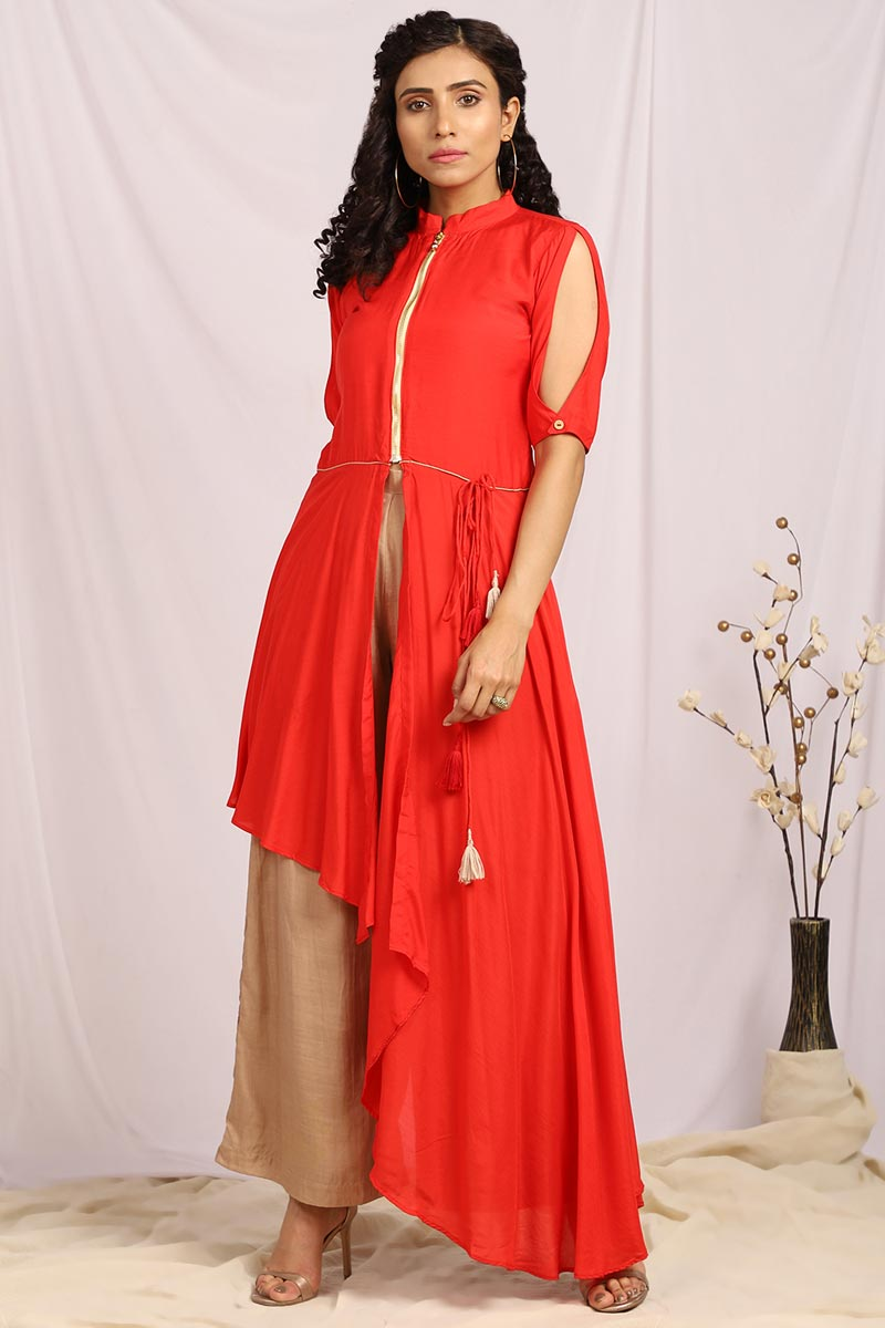 Exclusive Red Color Front Slit Assymetrical Top With Palazzo