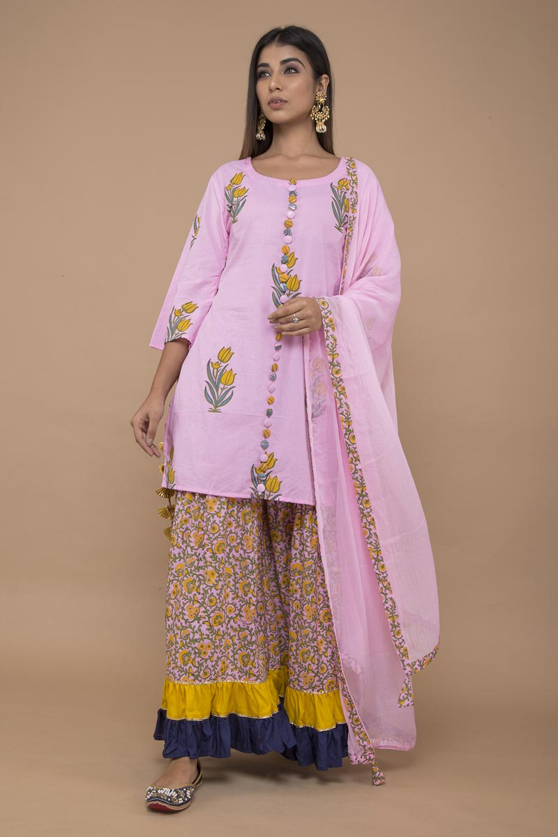 Exclusive Pink Color Cotton Floral Printed Sharara Suit