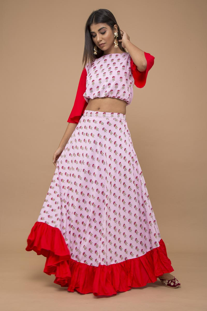 Exclusive Pink Color Booti Printed Indo Western Lehenga Set In Cotton