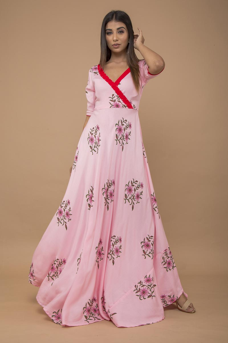Exclusive Rayon Pink Printed Gown Style Kurti