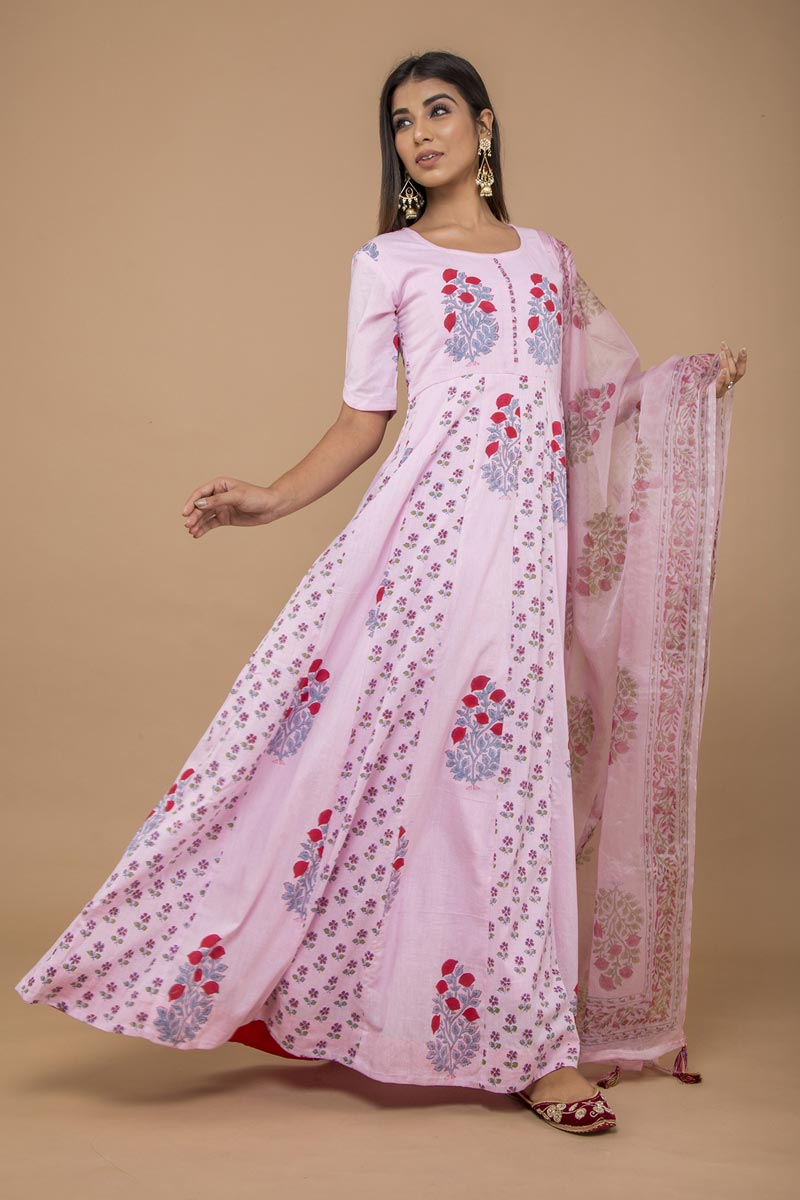 Exclusive Cotton Pink Color Long Anarkali Style Kurti With Dupatta